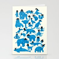 hats Stationery Cards featuring Blue Animals Black Hats by WanderingBert / David Creighton-Pester