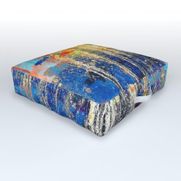 Golden Dawn, Abstract Landscape Art Outdoor Floor Cushion