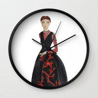 valentina Wall Clocks featuring Fashion Illustration Valentina coral couture dress by Cinnamoncafexx