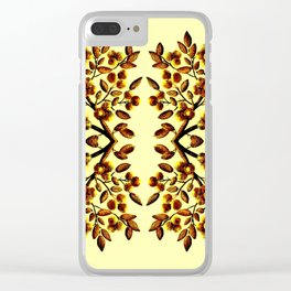 Yellow Brown Flower Leaf Pattern Vector Clear iPhone Case