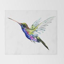 Flying Hummingbird, Blue green wall art minimalist bird Throw Blanket
