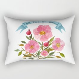 Will Not Be Tamed Floral Watercolor Rectangular Pillow