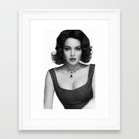 lindsay lohan Framed Art Prints featuring Lindsay Lohan as Elizabeth Taylor by OUR PRINCE OF PEACE