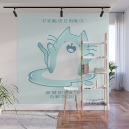 Kawaii Ice melting cat Wall Mural