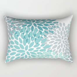 Floral Pattern, Aqua, Teal, Turquoise and Gray Rectangular Pillow