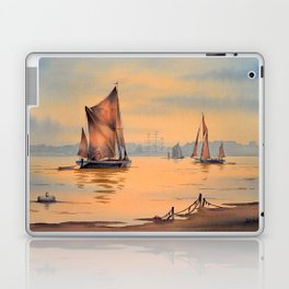 Barges On The River Thames Greenwich London Laptop & iPad Skin
