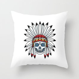 Skull Indian chief feather headdress gift Throw Pillow