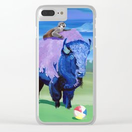 Beach Ball Bison Clear iPhone Case