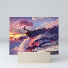Sakura tree in clouds Mini Art Print
