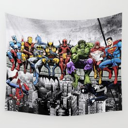 Superhero Lunch Atop A Skyscraper Wall Tapestry