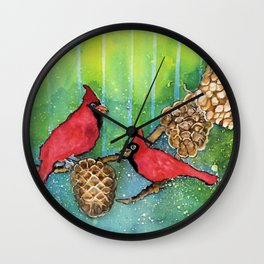 Christmas Cardinals Wall Clock