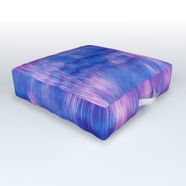 Modern Abstract Electric Blue Pink Watercolor Ikat Outdoor Floor Cushion