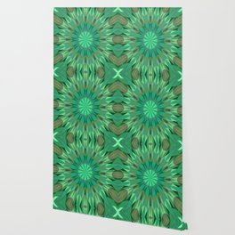 Green Retro Geometry Mandala Wallpaper