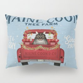 Maine Coon Cat Christmas Tree Farm Vintage Red Truck  Pillow Sham