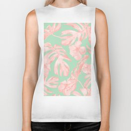 Tropical Palm Leaves Hibiscus Pink Mint Green Biker Tank