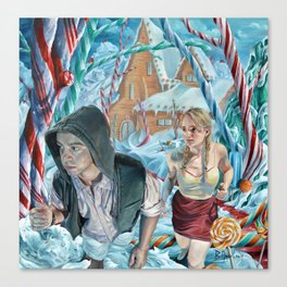 Escape from Temptation, oil painting portrait of Hansel and Gretel in Candy Land Canvas Print