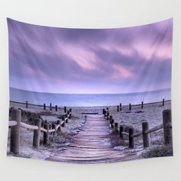"""To the beach...."" Purple sunset Wall Tapestry"