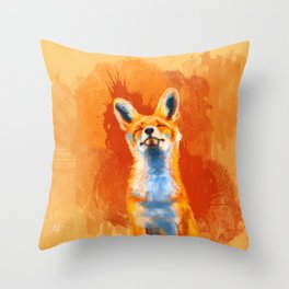 Happy Fox on an orange background Throw Pillow