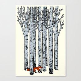 Fox in the Birches Canvas Print