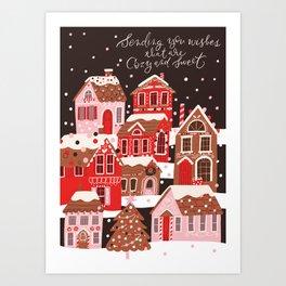 Gingerbread Village Art Print