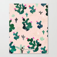 Cactus Desert Pink Dusk Moon Canvas Print