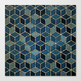 Shades Of Turquoise Green & Blue Cubes Pattern Canvas Print