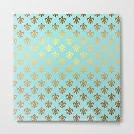 Royal gold ornaments on aqua turquoise background Metal Print