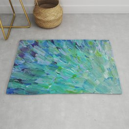SEA SCALES - Beautiful Ocean Theme Peacock Feathers Mermaid Fins Waves Blue Teal Color Abstract Rug