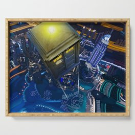 Tardis doctor who flying above modern starry night city Serving Tray