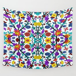 purple birds in roses Wall Tapestry