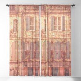 The Old Neighborhood, Rustic Buildings Sheer Curtain