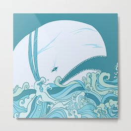 Moby Dick Illustration Metal Print
