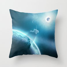 Astronaut Floating in Space Throw Pillow