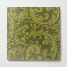 Retro Chic Swirl Golden Lime Metal Print