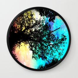 Black Trees Colorful Space bright Wall Clock