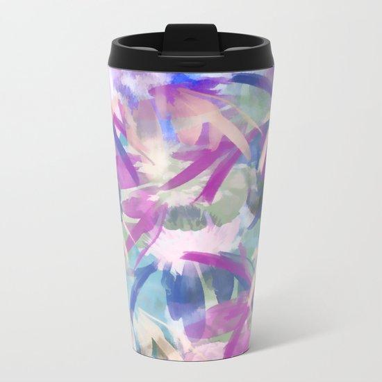 Pastel Floral Extravaganza Abstract Metal Travel Mug