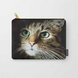 Tabby Cat With Green Eyes Isolated On Black Carry-All Pouch