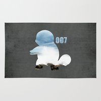 squirtle Area & Throw Rugs featuring 007 squirtle by Hello Happy