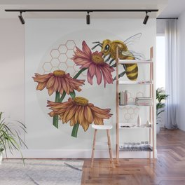 Bee and Montreal Echinacea Wall Mural