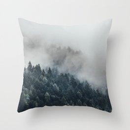 Misty Foggy Minimalist Landscape Photography Pine Forest Throw Pillow