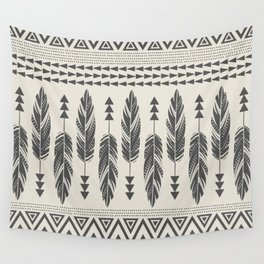Tribal Feathers-Black & Cream Wall Tapestry