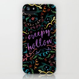 Creepy Hollow - color on black iPhone Case
