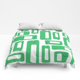 Retro Mid Century Modern Abstract Pattern 336 Green Comforters