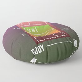 Food is fuel for the body Floor Pillow