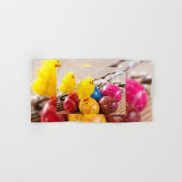 Easter Eggss And Fluffy Chickens Hand U0026 Bath Towel