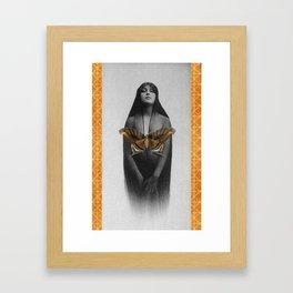 femme au papillon Framed Art Print