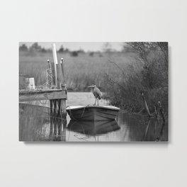 Blue Heron on Fishing Boat II Metal Print