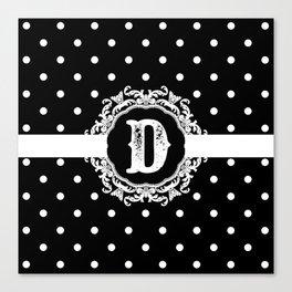 Black Monogram: Letter D Canvas Print