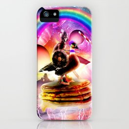 Cat Riding Goose With Pancakes And Milkshake iPhone Case