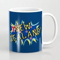 new zealand Mugs featuring  New Zealand  by mailboxdisco